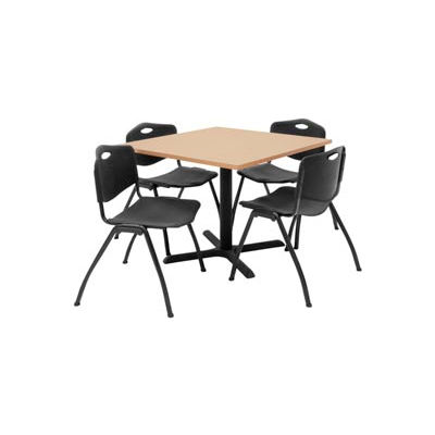 """Regency Table and Chair Set - 36"""" Square - Beige Table / Black Plastic Chairs"""