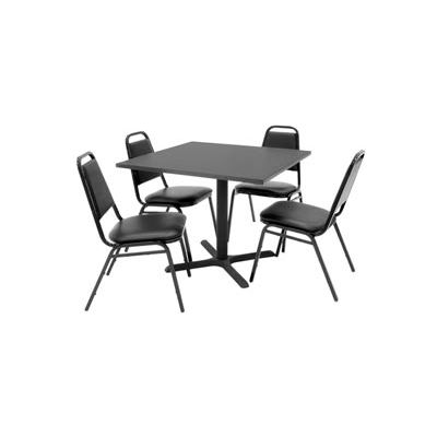 """Regency Table and Chair Set - 36"""" Square - Mocha Walnut Table / Black Vinyl Chairs"""