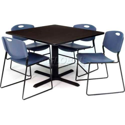 """Regency Table and Chair Set - 36"""" Square - Mocha Walnut Table / Blue Wide Plastic Chairs"""
