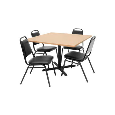 """Regency Table and Chair Set - 42"""" Square - Beige Table / Black Vinyl Chairs"""