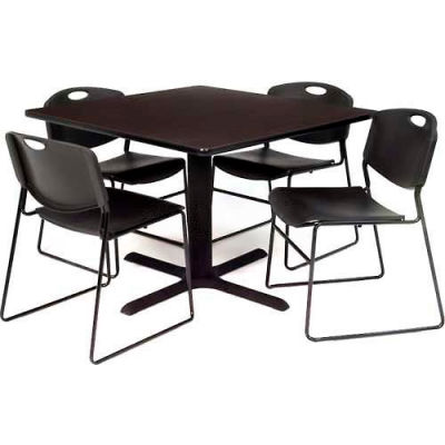 """Regency Table and Chair Set - 42"""" Square - Gray Table / Black Plastic Chairs"""
