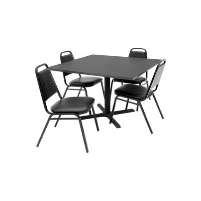 """Regency Table and Chair Set - 42"""" Square - Mocha Walnut Table / Black Vinyl Chairs"""