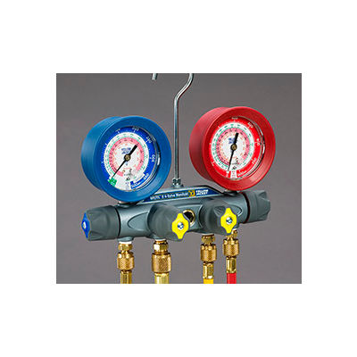 """Yellow Jacket® BRUTE II Manifold With 60"""" Ball Valve RYB and 3/8"""" x 45° 46013"""