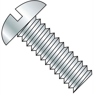 "10-24 X 1/2"" Slotted Round Head Machine Screw - 18-8 Stainless Pkg Of 25"