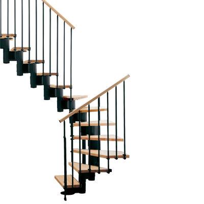 "Arke Kompact Modular Staircase Kit, (88-5/8"" to 119-1/4""), *U* 29"" Tread, Black"