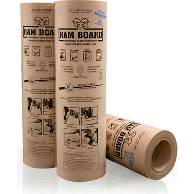 """Ram Board® 38""""W x 100'L (317 Sq. Ft.) Temporary Floor Protection - RB 38-100 - Pkg Qty 16"""