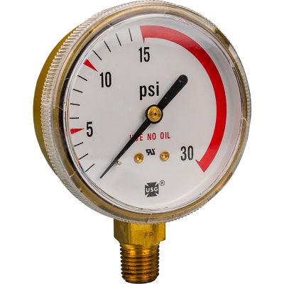 """Industrial Pro® 2-1/2"""" Pressure Gauge, 1/4"""" NPT, 30 PSI"""