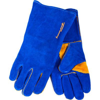 Forney® Hide® Leather Welding Gloves, Blue, Mens XL