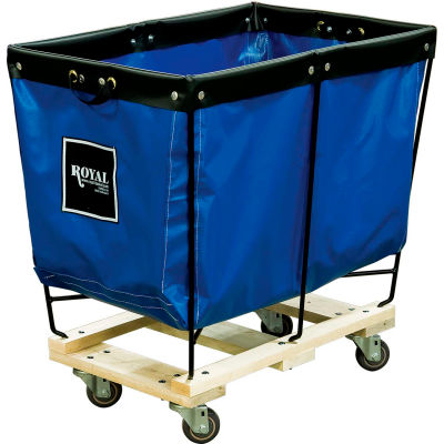 Elevated Basket Truck, 6 Bu, Blue Vinyl, Wood Base, All Swivel