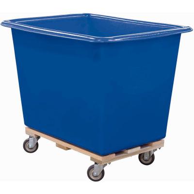Royal Basket-Poly Truck, 18 Bu, Blue, Wood Base, All Swivel - R18-BLX-PTA-4UNN