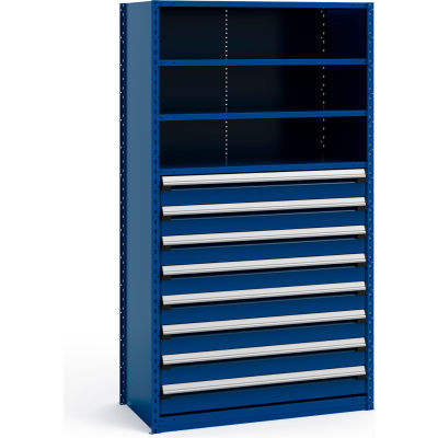"""Steel Shelving 48""""Wx24""""Dx87""""H Closed 5 Shelf 8 Drawer Avalanche Blue"""