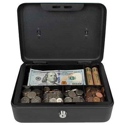 "Royal Sovereign Full-Size Cash Box RSCB-200, 6-Compartment, Tray, 9-13/16""Wx7-3/8""D x 3-7/8""H Black"