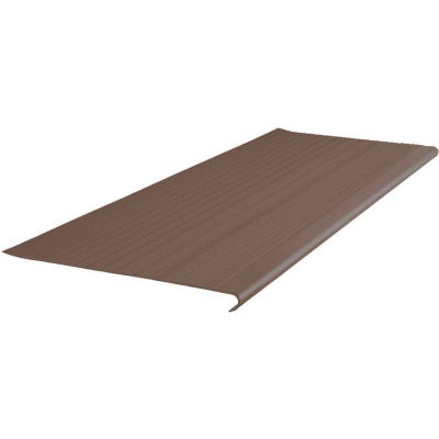 """Vinyl Ribbed Stair Tread Round Nose 12.5"""" x 36"""" Light Brown"""