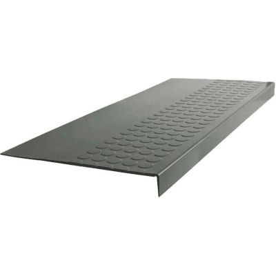 "Rubber Raised Circular Stair Tread Square Nose 12.06"" x 42"" Charcoal"