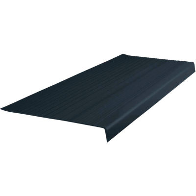 "Vinyl Heavy Duty Ribbed Stair Tread Square Nose 12.5"" x 48"" Black"