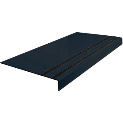 "Rubber Heavy Duty Abrasive Strip Stair Tread Square Nose 12.31"" x 48"" Black"
