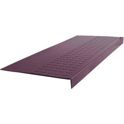 "Rubber Raised Circular Stair Tread Square Nose 12.06"" x 48"" Burgundy"