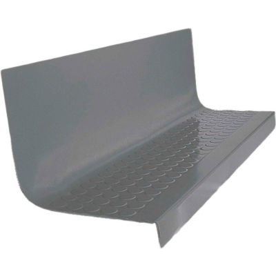 "Rubber Raised Circular Stair Tread Square Nose 20.44"" x 54"" Dark Gray"