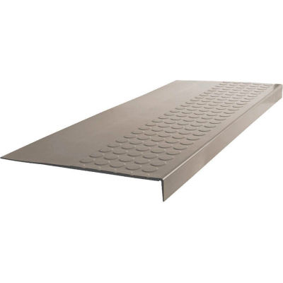 """Rubber Raised Circular Stair Tread Square Nose 12.06"""" x 54"""" Pewter"""