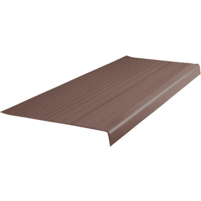 """Vinyl Heavy Duty Ribbed Stair Tread Square Nose 12.5"""" x 72"""" Light Brown"""