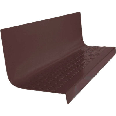 "Rubber Raised Circular Stair Tread Square Nose 20.44"" x 72"" Brown"