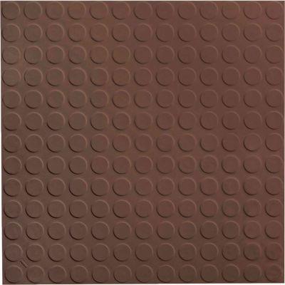 "Raised Circular Design Rubber Tile 19.69"" x 19.69"" x .125"" Light Brown"