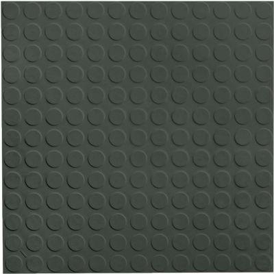 "Raised Circular Design Rubber Tile 19.69"" x 19.69"" x .125"" Black Brown"