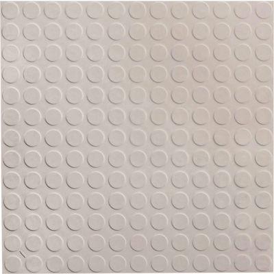 "Raised Circular Design Rubber Tile 19.69"" x 19.69"" x .125"" Smoke"