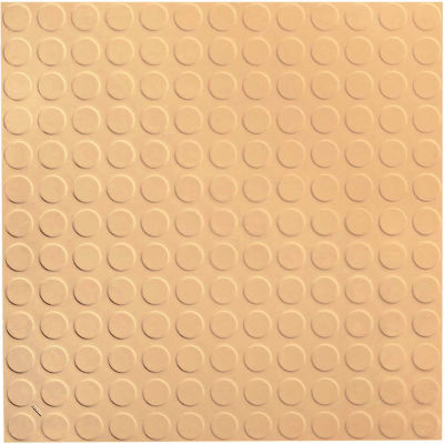 "Raised Circular Design Rubber Tile 19.69"" x 19.69"" x .125"" Camel"