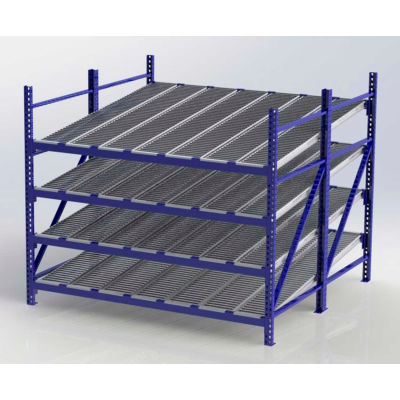"UNEX RR99S2R8X8-S Gravity Flow Roller Rack with Span Track Starter 96""W x 96""D x 84""H with 4 Levels"