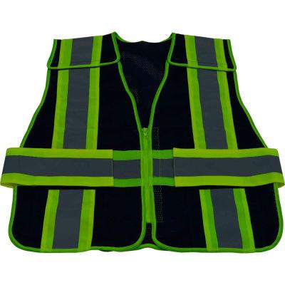 Petra Roc Two Tone 5-Point Breakaway Public Safety Vest, Zipper Closure, Navy/Lime, S-XL