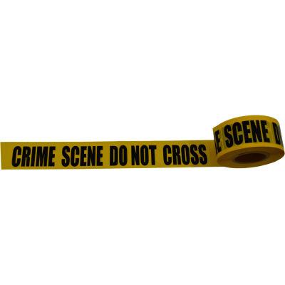 """""""Crime Scene Do Not Cross"""" Barricade Tape, Polyethylene, Yellow Tape/Black Print, 3"""" x 1000'"""