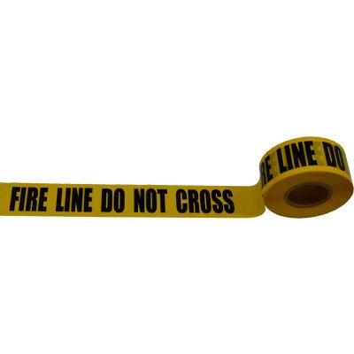 """Fire Line Do Not Cross"" Barricade Tape, Polyethylene, Yellow Tape/Black Print, 3"" x 1000'"