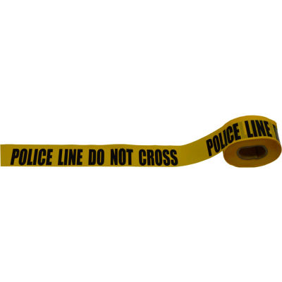 """Police Line Do Not Cross"" Barricade Tape, Polyethylene, Yellow Tape/Black Print, 3"" x 1000'"