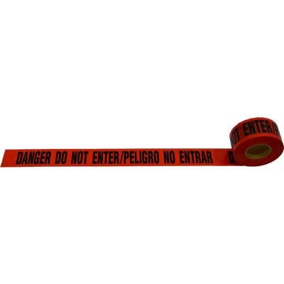 """""""Danger Do Not Enter / Peligro No Entrar"""" Barricade Tape, Red Tape/Black Print, 3"""" x 1000'"""