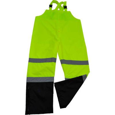 Petra Roc Waterproof Bib Pants, ANSI Class E, 300D Oxford/PU Coating, Lime/Black, XL