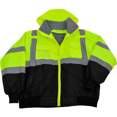 Petra Roc Waterproof Bomber Jacket W/Removable Fleece Liner, ANSI Class 3, Lime/Black, 2XL