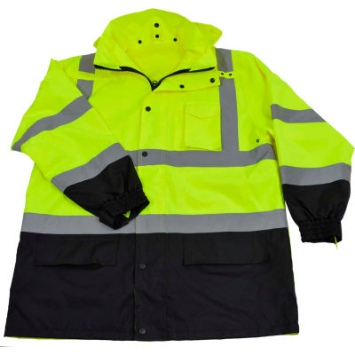 Petra Roc Two Tone Parka Jacket W/Removable Roll Away Hood, ANSI Class 3, Lime/Black, Size S