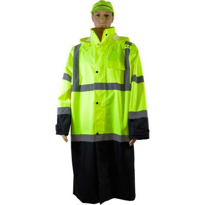 "Petra Roc 48"" Two Tone Waterproof Rain Coat, ANSI Class 3, Lime/Black, Size 2XL"