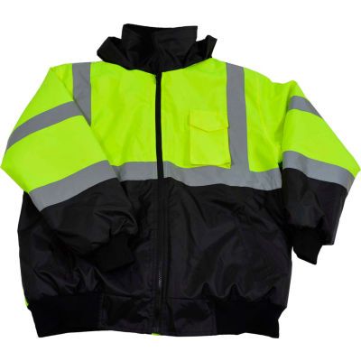 Petra Roc ANSI Class 3 Waterproof Bomber Jacket, Lime/Black, Size S
