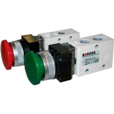 """ROSS® Pneumatic Mushroom Green Push Button Valve 1223B2MBG, 1/4"""" NPT"""