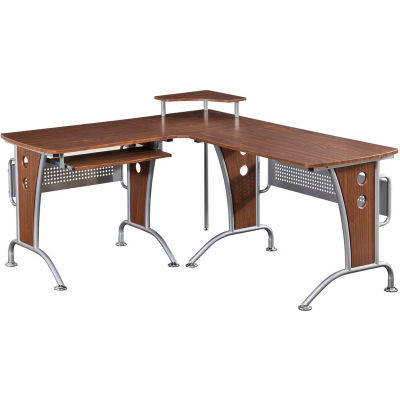 Techni Mobili Deluxe L-Shaped Computer Desk with Pull Out Keyboard Panel, Mahogany