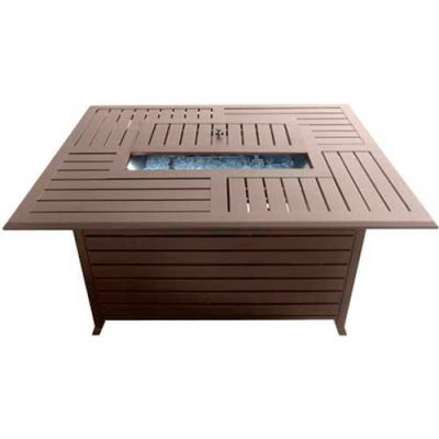 Hiland Fire Pit FS-1010-T-12 Propane 42000 BTU Rectangle Slatted Aluminum Bronze/Stainless Steel