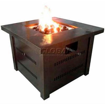 Hiland Fire Pit GS-F-PC Propane 31000 BTU Square Antique Bronze