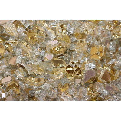 """Hiland Fire Glass RFGLASS-GOLD 1/4"""" to 1/2"""" Dia. Reflective Gold 10 Lbs"""