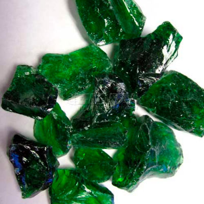 """Hiland Fire Glass RGLASS-GRN 1/2"""" to 1"""" Dia. Recycled Green 10 Lbs"""