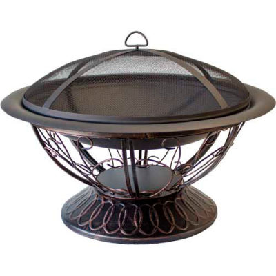 """Hiland Fire Pit YFP-022 Wood Burning with Scroll Design 30"""" Round Black"""