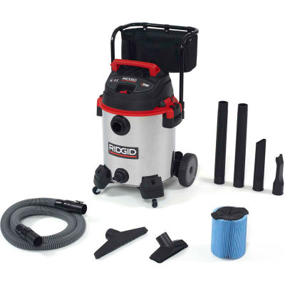 RIDGID® 16 Gallon 6.5 Peak HP Stainless Steel Wet/Dry Vacuum with Cart - 1610RV