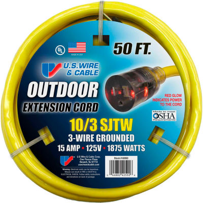 U.S. Wire 68050 50 Ft. Single-Tap w/ Lit End Temp-Flex Extension Cord, 10/3 Ga., 300V, 15A, Yellow
