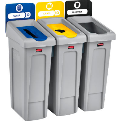 Rubbermaid Slim Jim Recycling Station, Landfill/Paper/Bottles & Cans, (3) 23 Gallon - 2007917
